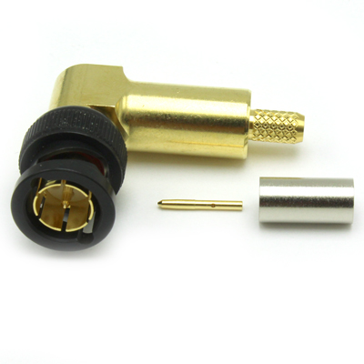 10-104-W126-EF - BNC Right Angle Crimp / Crimp Plug 12Ghz