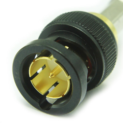 10-005-W126-EF1 - 'KORUS' Ultra HD 12G BNC Straight Crimp / Crimp Plug True 75 Ohm (Black Coupling Cap)