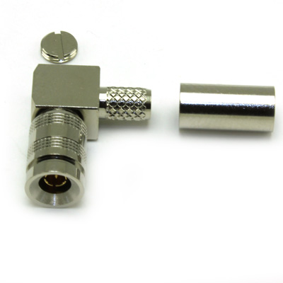 52-104-B6-EF - 1.0/2.3 Right Angle Solder / Crimp Plug True 75 Ohm
