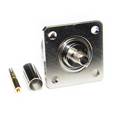 "N Type 4 Hole 1"" Square Flange Mount Crimp / Crimp Jack - Image 4"